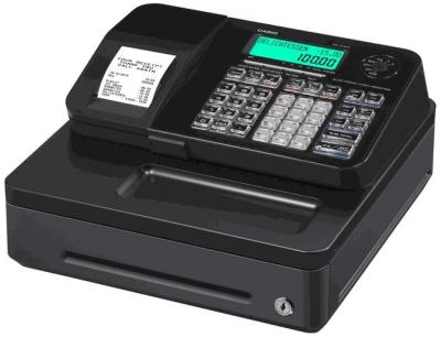 Casio S100SB/BK FIS Gdpdu Enabled Cash Register with Software License, SD Card & Battery complete package and Free Hot Line – Black 220 Volts NOT FOR USA