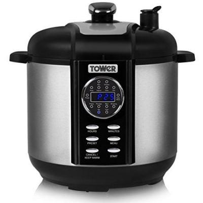 Tower Pro T16008 One Pot Express 14-in-1 Electric Pressure Cooker with Smoker, 6 Litre, 1000 Watt - Stainless Steel 220 volts NOT FOR USA