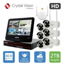 CRYSTAL VISION CVT9608E-3010W 8 CHANNEL ALL-IN-ONE TRUE HD WIRELESS NVR SURVEILLANCE SYSTEM