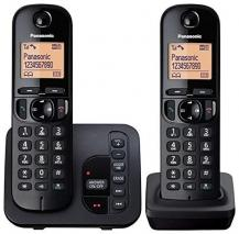 Panasonic KX-TGC222EB Digital Cordless Phone with LCD Display – Black 220 VOLTS (NOT FOR USA)