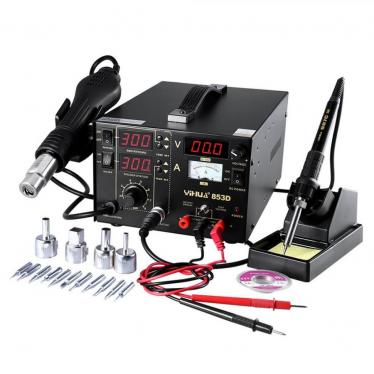 Mbuynow 3 in 1 Soldering Station Solder Rework Tool Set with Hot Air Gun Welder Power Supply, 4 Nozzles + 11 Iron Tips 220V (Not For USA)