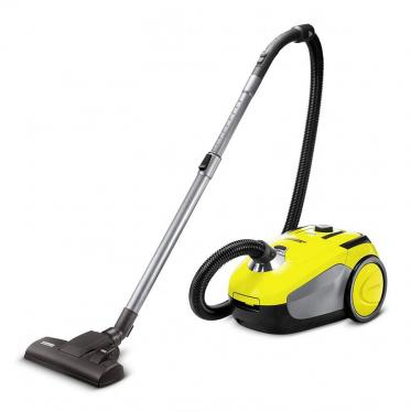 Karcher VC 2 Vacuum Cleaner with Bag, Floor Vacuum Cleaner with Comfort Equipment, High Performance Hygienic Filter, 700 Watt, Yellow / Black 11981050 (Not For USA)