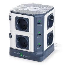 BESTEK 1500J Switchable 8 Sockets with 6 USB (5 V/8 A) Multiple Socket Tower 220 VOLTS NOT FOR USA