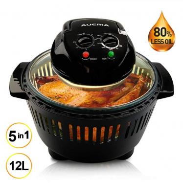 AUCMA Halogen Oven 12 Litre with Lid Heat & Resistant Basket Halogen Digital Convection Oven Air Fryer with 60min Timer, Adjustable Temperature Control, 220 VOLTS (NOT FOR USA)