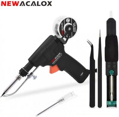 NEWACALOX  Soldering Gun, 60W Auto Solder Feed Welding Tool with Detachable Solder Wire Bracket and On/Off Switch, Desoldering Pump, Electronics Solder Iron Gun Kit, 220Volts (NOT FOR USA)