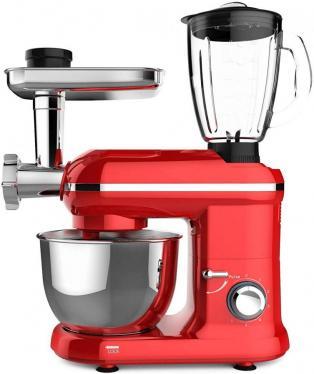 Frigidaire FD5126 1000W 6-Speed Stand Mixer With Blender & Meat Grinder, Red 220-240 VOLTS (NOT FOR USA)