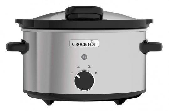 Crock-Pot CSC044 Slow Cooker with Hinged Lid, 3.5 Litre, Removable Easy-Clean Ceramic, Stainless Steel  220 VOLTS (NOT FOR USA)