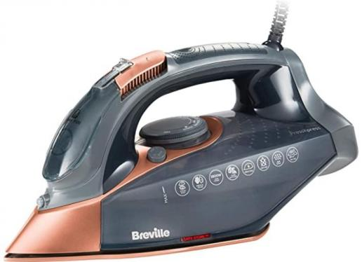 Breville VIN407 PressXpress Steam Iron, 2800 W, 180G Steam Shot, Multi-Directional Ceramic Soleplate, 400 ml Water Tank, Grey & Rose Gold 220-240 VOLTS (NOT FOR USA)