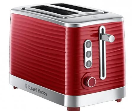 Russell Hobbs 24372 Inspire Red High Gloss Plastic Two Slice Toaster  220-240 VOLTS (NOT FOR USA)