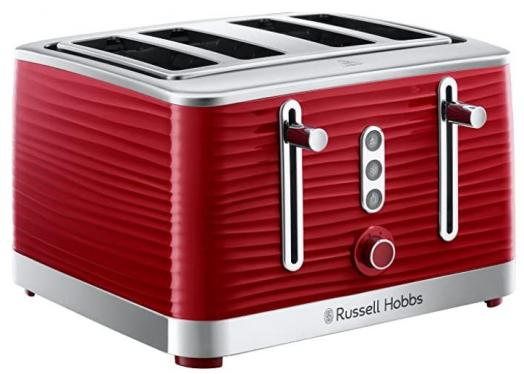 Russell Hobbs 24382 Inspire Red High Gloss Plastic Four Slice Toaster 220-240 VOLTS (NOT FOR USA)