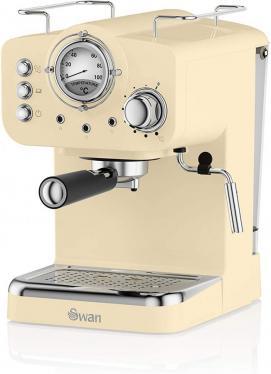 Swan SK22110CN Espresso Coffee Machine, 15 Bars, Milk Frothier, 1.2L Tank, Cream 220 volts NOT FOR USA