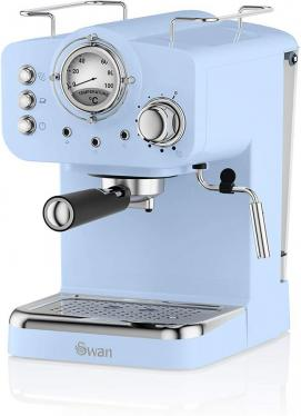 Swan SK22110BLN Espresso Coffee Machine, 15 Bars, Milk Frothier, 1.2L Tank, Blue 220 volts NOT FOR USA