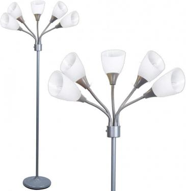 Lightaccents 1619798220 with 5 Adjustable White Acrylic Room Light - Silver 220 volts NOT FOR USA