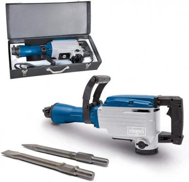 Scheppach AB1700 Demolition Hammer 50J Impact Force 1700W 2000 Strikes/min 390mm Pointed and Flat Chisel with Metal Carry Case 220-240 VOLTS NOT FOR USA