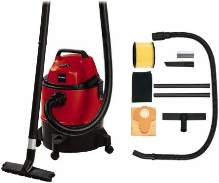 Einhell TC-VC 1825 Wet and Dry Vacuum Cleaner (1,250 W, 25 L Container, 180 mbar Suction Power, Blow Connection, Includes Plastic Suction Hose / Pipe, Nozzles Carpet/Smooth Floor + Joint, Long-Term Foam Filter)  220-240 VOLTS NOT FOR USA