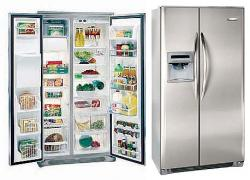 Frigidaire GPVC25V9GS Stainless Steel Doors with a Premier Silver Cabinet Side by Side Refrigerator with 220-240 volt, 50/60Hz