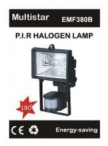 EWI EMF380B P.I.R Halogen Lamp with motion detector  220-240Volt, 50/60Hz