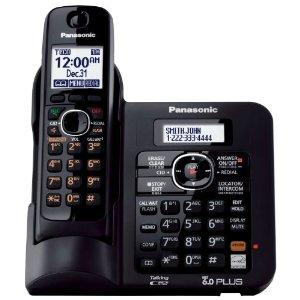 Panasonic KX-TG6641B DECT 6.0 Cordless Phone with Anwering System, Black, 1 Handset -WORLDWIDE 110-240V