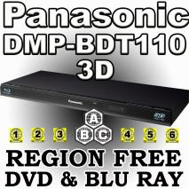 Panasonic DMP-BDT110 3D Multi Zone All Region Code Free DVD Blu Ray Player for 110-220 volts
