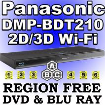 Panasonic DMP-BDT210 3D Multi Zone All Region Code Free DVD Blu Ray Player for 110-220 volts