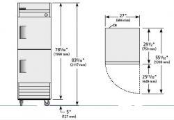 True TRT23-2 Commercial Solid Half Swing 2 Door Refrigerator 220-240Volt/ 50Hz