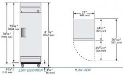 True TRT19 Commercial Solid Door Refrigerator 220-240Volt/ 50Hz