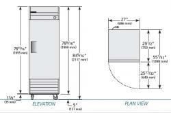 True TRT23 Commercial Solid Swing Door Refrigerator 230-240Volt