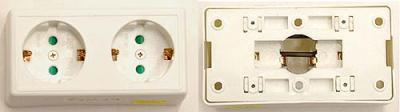 Receptacle EWI02SU European SCHUKO duplex receptacle FOR 250V.